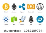 cryptocurrency flat... | Shutterstock .eps vector #1052109734