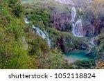 amazing top view of waterfalls... | Shutterstock . vector #1052118824