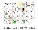 august 2018 monthly calendar... | Shutterstock . vector #1052119376