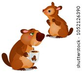 cheerful beaver and tired... | Shutterstock .eps vector #1052126390