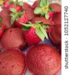 muffins and strawberry    Shutterstock . vector #1052127740