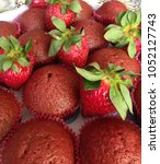 muffins and strawberry    Shutterstock . vector #1052127743