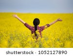 rear view of pretty young woman ...   Shutterstock . vector #1052127890