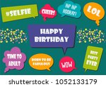 multicolored photo booth props... | Shutterstock .eps vector #1052133179
