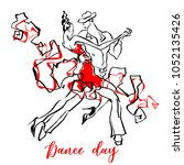 dance day greeting card.... | Shutterstock .eps vector #1052135426