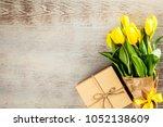 Yellow Tulips On Wooden...