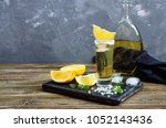 mexican gold tequila in the... | Shutterstock . vector #1052143436
