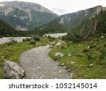 footpath and river in the... | Shutterstock . vector #1052145014