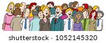 an image of a crowd of people... | Shutterstock .eps vector #1052145320