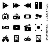 solid vector icon set   play... | Shutterstock .eps vector #1052157128