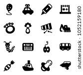 solid vector icon set   balloon ... | Shutterstock .eps vector #1052159180