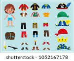 little boy with his pirate... | Shutterstock .eps vector #1052167178