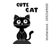 cute black cat. vector...   Shutterstock .eps vector #1052169650