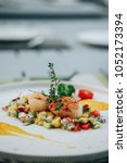 grilled scallops with fruit... | Shutterstock . vector #1052173394