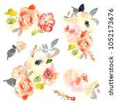 watercolor flower bouquets | Shutterstock . vector #1052173676