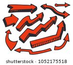 arrows of red color  hand drawn ... | Shutterstock .eps vector #1052175518