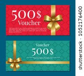 voucher on 500  set of posters... | Shutterstock .eps vector #1052176400
