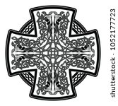 celtic cross with national... | Shutterstock .eps vector #1052177723