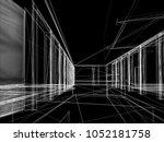 sketch design of interior hall  ... | Shutterstock . vector #1052181758