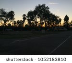 sunset in a los angeles trailer ... | Shutterstock . vector #1052183810