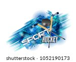 hockey  crossed hockey sticks... | Shutterstock . vector #1052190173