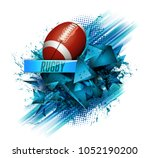pattern design with rugby ball  ... | Shutterstock . vector #1052190200