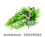 hockey  crossed hockey sticks... | Shutterstock . vector #1052190263