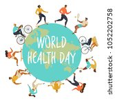 world health day. active young... | Shutterstock .eps vector #1052202758