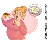 fat cartoon woman with cake in... | Shutterstock .eps vector #1052204954