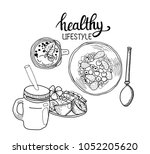 vector healthy lifestyle... | Shutterstock .eps vector #1052205620