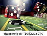 dice throw on craps table in...