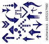 set of hand drawn vector blue... | Shutterstock .eps vector #1052217980