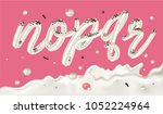 cream candy font. abc   festive ... | Shutterstock .eps vector #1052224964