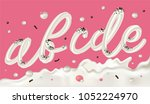 cream candy font on pink... | Shutterstock .eps vector #1052224970