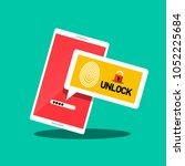 smartphone unlock. fingerprint...   Shutterstock .eps vector #1052225684