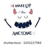 sweet monster illustration... | Shutterstock .eps vector #1052227583