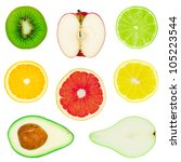 many isolated fruit on white... | Shutterstock . vector #105223544