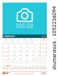 february 2019. wall calendar... | Shutterstock .eps vector #1052236094