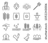 set of agriculture and farming... | Shutterstock .eps vector #1052243006
