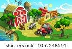 vector illustration. farm with... | Shutterstock .eps vector #1052248514