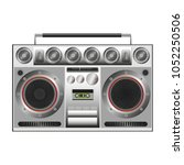 vintage boombox station with... | Shutterstock .eps vector #1052250506