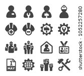 labour crew icon set | Shutterstock .eps vector #1052257280