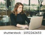 portrait of attractive young... | Shutterstock . vector #1052262653