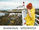 woman sightseeing norway...   Shutterstock . vector #1052263214
