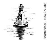 sea buoy floating in the ocean.... | Shutterstock . vector #1052272280