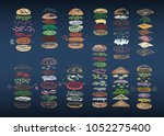 color set of 12 different... | Shutterstock .eps vector #1052275400