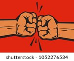 two clenched fists bumping... | Shutterstock .eps vector #1052276534