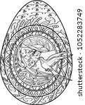 vector. easter egg from flower... | Shutterstock .eps vector #1052283749