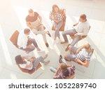 top view of business team... | Shutterstock . vector #1052289740