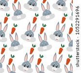 rabbit head animal and carrot... | Shutterstock .eps vector #1052291696